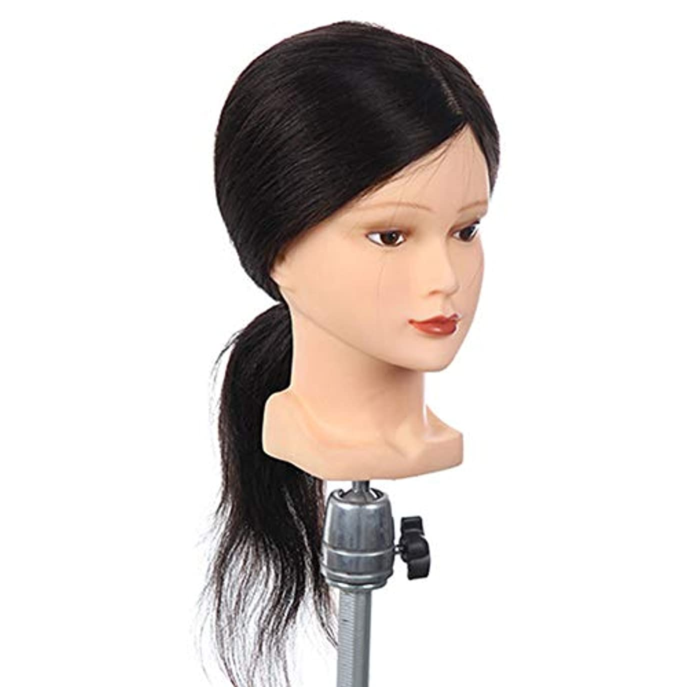ヘルパー刺す青100%本物の髪型モデルヘッド花嫁ヘアエクササイズヘッド金型理髪店学習ダミーヘッドはパーマ毛髪染料することができます