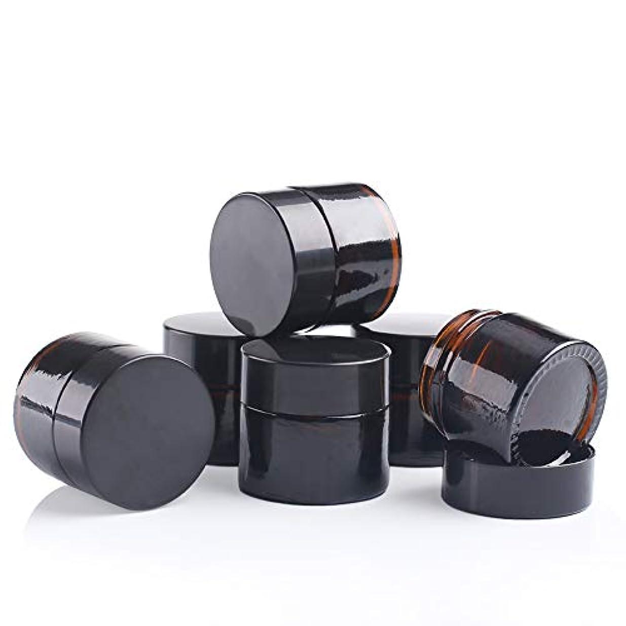 換気する集中的な紛争遮光瓶 クリーム容器 ガラス製 ブラウン ハンドクリーム 容器 6個 セット茶色
