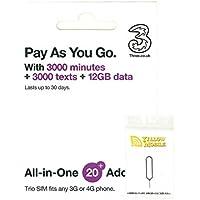 イギリスSIM Three 30日/データ12GB/通話3000分・他約60地域 データ12GB コミコミパック+YM SIMピンセット(日本語マニュアル付)
