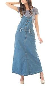 ・カジュアルでも大人顔に着れちゃうサロペットスカート。タイト過ぎないゆったりとしたAラインのロングスカートデザインはきれいなシルエットを演出してくれます。フロントボタンがポイント。大人っぽく見せてくれる細めの肩ひもは調整可なのでスニーカーでもヒールでもお好みの長さで着れるのも◎ ・デニムバージョンはネイビーとブルーの2色。カラー違いのベルトループやパイピングがアクセントに。デニム感を引き立たせてくれるステッチもGoodポイント。重すぎず薄すぎない素材感で着心地も良く綿素材で丈夫なのもポイントです...