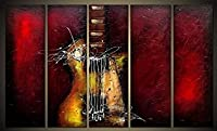 Wieco art-guitarパッションFramed抽象油彩絵画キャンバス100手描き現代キャンバス壁アート装飾5個/セット 10x30inchx5pcs (25x75cmx5pcs) ブラック AB5112-2