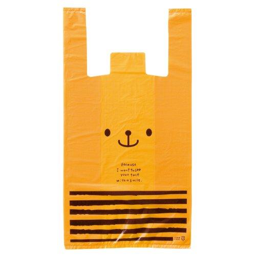 手提げ袋 レジ袋 くま オレンジ-M (100枚) CDB-M