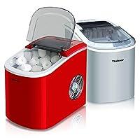 Lxn カウンタートップポータブル手動製氷機、33 lbs 24時間で氷、8〜10分製氷、シースルー蓋付き、弾丸型円形氷、家庭用、バー、レストラン用