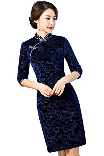 [해외](상하이 이야기) Shanghai Story 中袖 원피스 중국 옷 치파오 꽃 무늬 치파오 의상 중국 드레스 여성 중화 기모노/(Shanghai Monogatari) Shanghai Story Nakadoru One Piece Chinese Clothing Cheap Pao Flower Pattern China Dress Ethnic Costume...