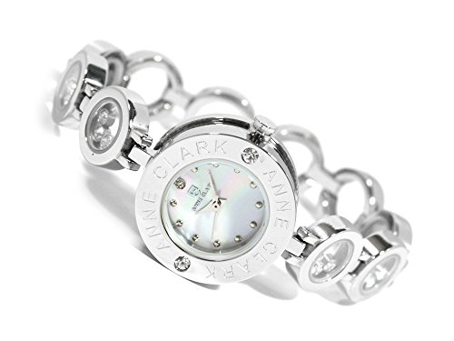 [アンクラーク]ANNE CLARK 腕時計 天然1Pダイヤモンド ムービングカラーストーン レディース ブレス ウォッチ シルバー×ホワイトシェル AT-1008-09 レディース