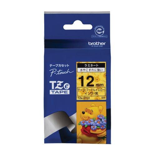 ピータッチ ディズニーキャラクターテープ プーさんイエローラベル TZe-DY31 [黒文字 12mm×5m]