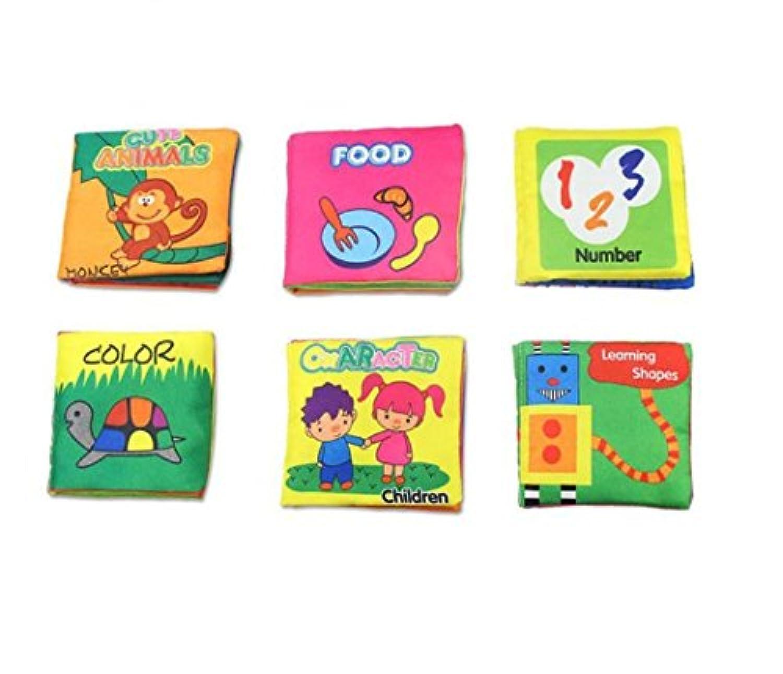 6パックFabric Cloth Bookセット早期教育Toys Activity Crinkle布Book for幼児、子供幼児と – ABC、123、食品、シェイプ&動物