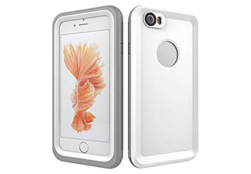 Iphone 6/6S 防水電話ケースは、HBER IP68完全密閉水泳ダイビング水中防塵耐雪性の耐震ヘビーデューティケースカバーは、iphone6/6Sのために敏感な画面タッチ指紋認証ロック解除をサポートしています (白)
