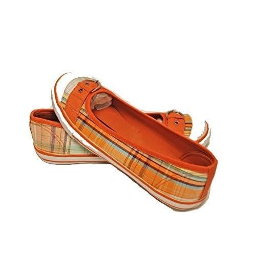 Womens Qupidオレンジファブリックキャンバスshoes-サイズ7 1 / 2
