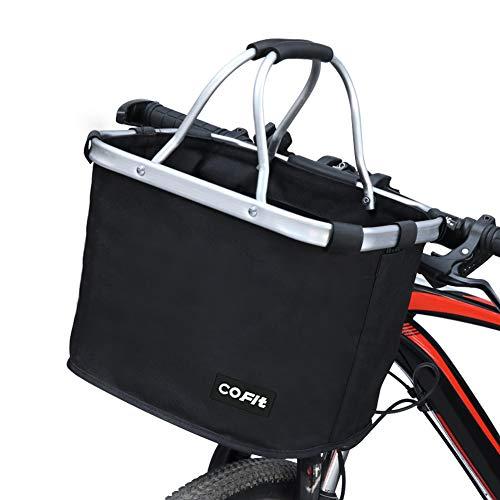 Cofit折りたたみ式バイクバスケット、ペットボトル用多目的自転車ハンドルバスケット、食料品ショッピング、ブリーフケース通勤、屋外キャンプ