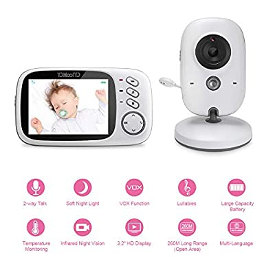 YOHOOLYO Baby Monitor Wireless 3.2 inch Video Camera with Night Vision Two-Way Talk Support Voice Activation Temperature Monitoring Built in Lullabies with AU Plug