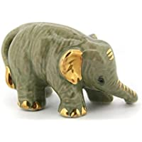 3 D Ceramic Toy Young Elephant Gold 2 Dollhouse Miniatures Free Ship by ChangThai Design [並行輸入品]