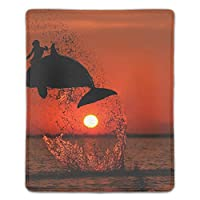 マウスパッド レーザー&光学式マウス対応 クジラと海に沈む夕日