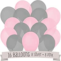 16 Pack of Latex Balloons (8 Pink & 8 Grey)