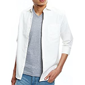 インプローブス シャツ オックスフォード スリム シャツ メンズ B 七分袖 ホワイト Mサイズ
