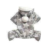 FidgetGear スター小型犬猫ジャンプスーツスノースーツフード付きフリースペット子犬服衣装GW グレー