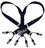 (エクサス)EXAS 無地ダブルクリップタイプサスペンダー ネイビー(幅3cm 日本製)