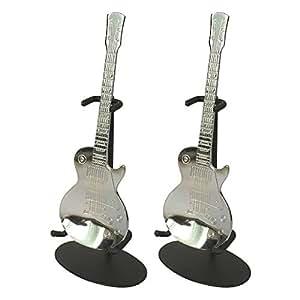 島村楽器ギター型スプーン レスポールタイプ スタンド付 ペア (ShimamuraMusic)