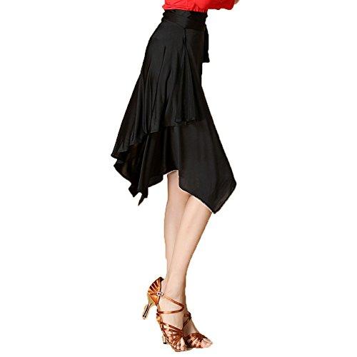 [L-night](エル‐ナイト)モダンダンス発表会用 社交 ラテン ワルツ専用スカート ダンススカート 社交ダンス 開場ダンス衣装(ブラック)