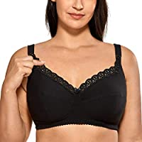 Gratlin Women's Cotton Wirefree Soft Plus Size Maternity Nursing Bra with Lace