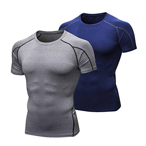 Niksa メンズ スポーツシャツ トレーニング ランニング スポーツ 用 半袖 吸汗 速乾 保護 高弾力 防臭 姿勢矯正 ラウンドネック 1点/2点 セット (1053-2件セット 半袖 灰色+ネイビー, L)