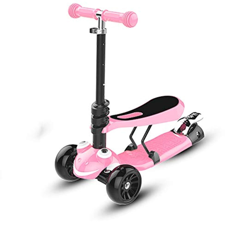 1Kidsキックスクーターに付き2、取り外し可能なシートを持つ子供用スクーター、 - エクストラワイドデッキ付き調節可能な高さ、LED照明付きホイール、1?6歳のダーリン