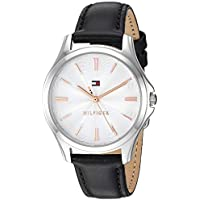 Tommy Hilfiger Women's 'Lori' Quartz Stainless Steel and Leather Watch, Color:Black (Model: 1781953)