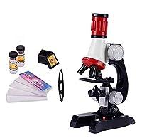 HSFTILV 子供向け科学顕微鏡キット100×400×1200×洗練された科学機器早期学習用教育ツール(赤)