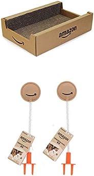 [Amazon限定ブランド] Petzone 爪とぎ Amazonボックス つめみがき 猫用 + 猫用おもちゃ Amazonつめみがきdeじゃらし 猫用 2個セット