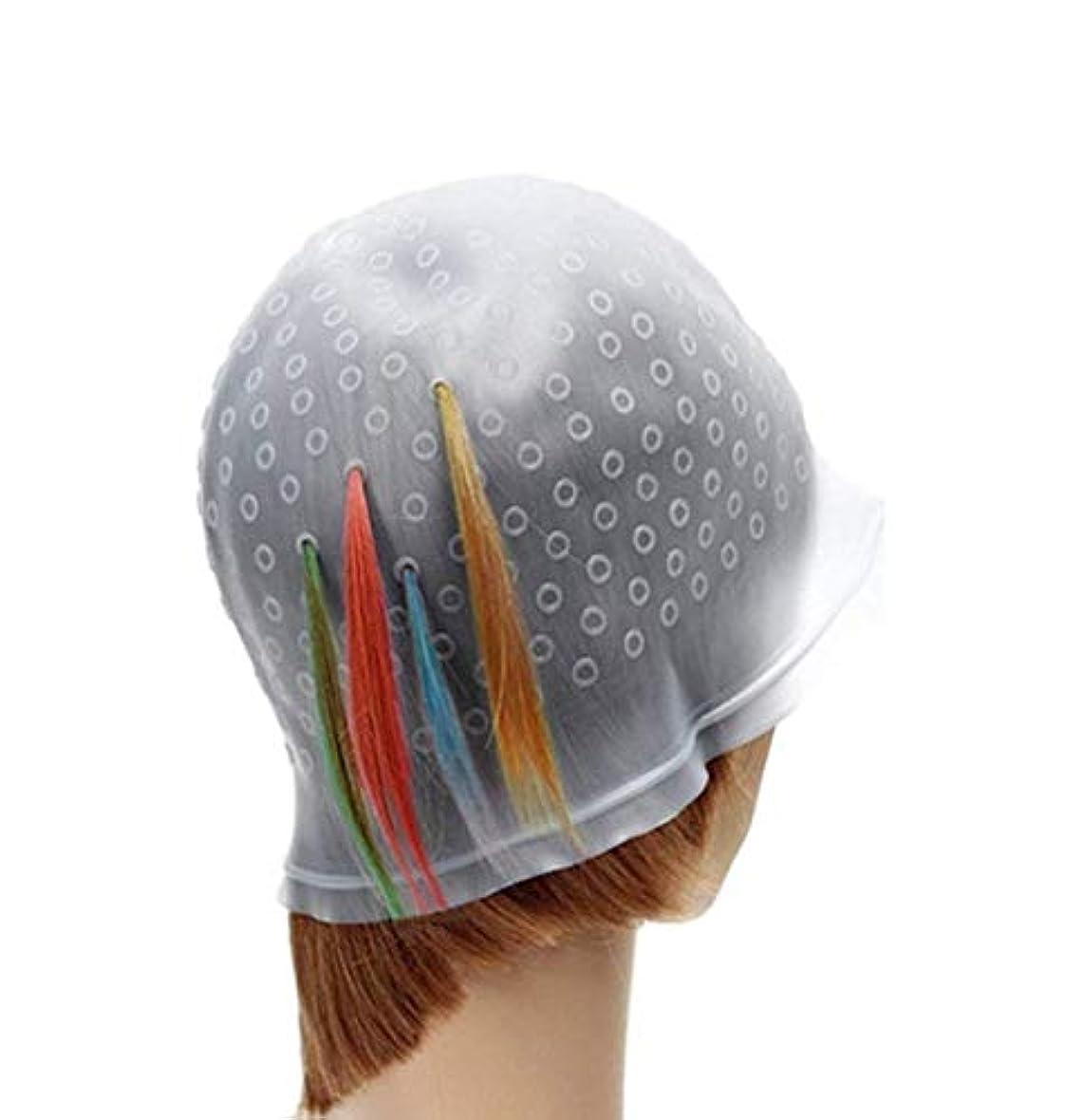 FACAI 洗って使える 毛染め ヘアカラー メッシュ 用 シリコン ヘア キャップ 穴あけポンチ シリコン キャップ (透明)