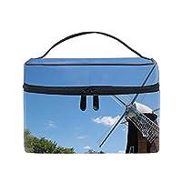 風車と青空メイクボックス コスメ収納 トラベルバッグ 化粧 バッグ 高品質