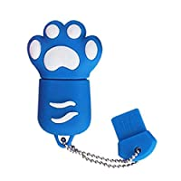 USBメモリー USBフラッシュメモリ Uディスク ネコ 猫爪 足型 おもしろ 可愛い スマートフォン タブレット パソコン データ転送 保存 16GB 2.0規格 (ブルー)