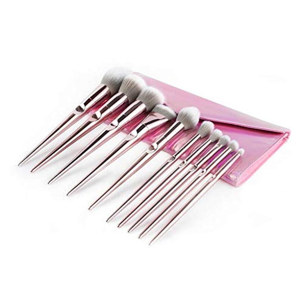 展開するテザープレーヤー10ライトピンク化粧ブラシセットブラッシュブラシアイシャドウブラシ