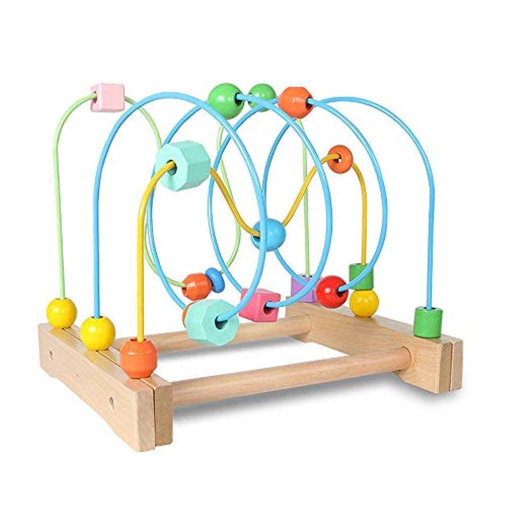 侵入ラフ睡眠ルーフビーズコースター 木製おもちゃグラフィックス、教育そろばんビーズサークルおもちゃ、カラフルなローラーコースターのゲーム、子供の幼児キッズボーイズ女の子のためのギフト 誕生日プレゼント 出産祝い 男の子 女の子 (Color : Multi-colored, Size : Free size)
