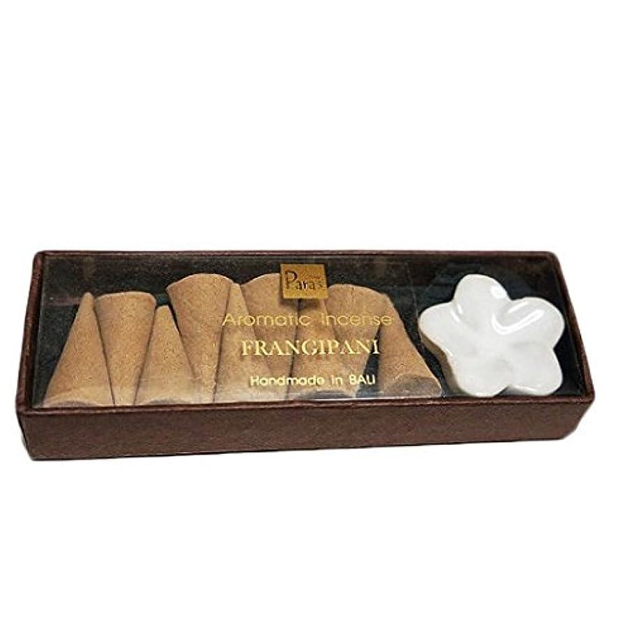 ラベルシルクミニチュアフランジパニ お香セット【トコパラス TOKO PARAS】バリ島 フランジパニの陶器のお香立て付き ナチュラルハンドメイドのお香
