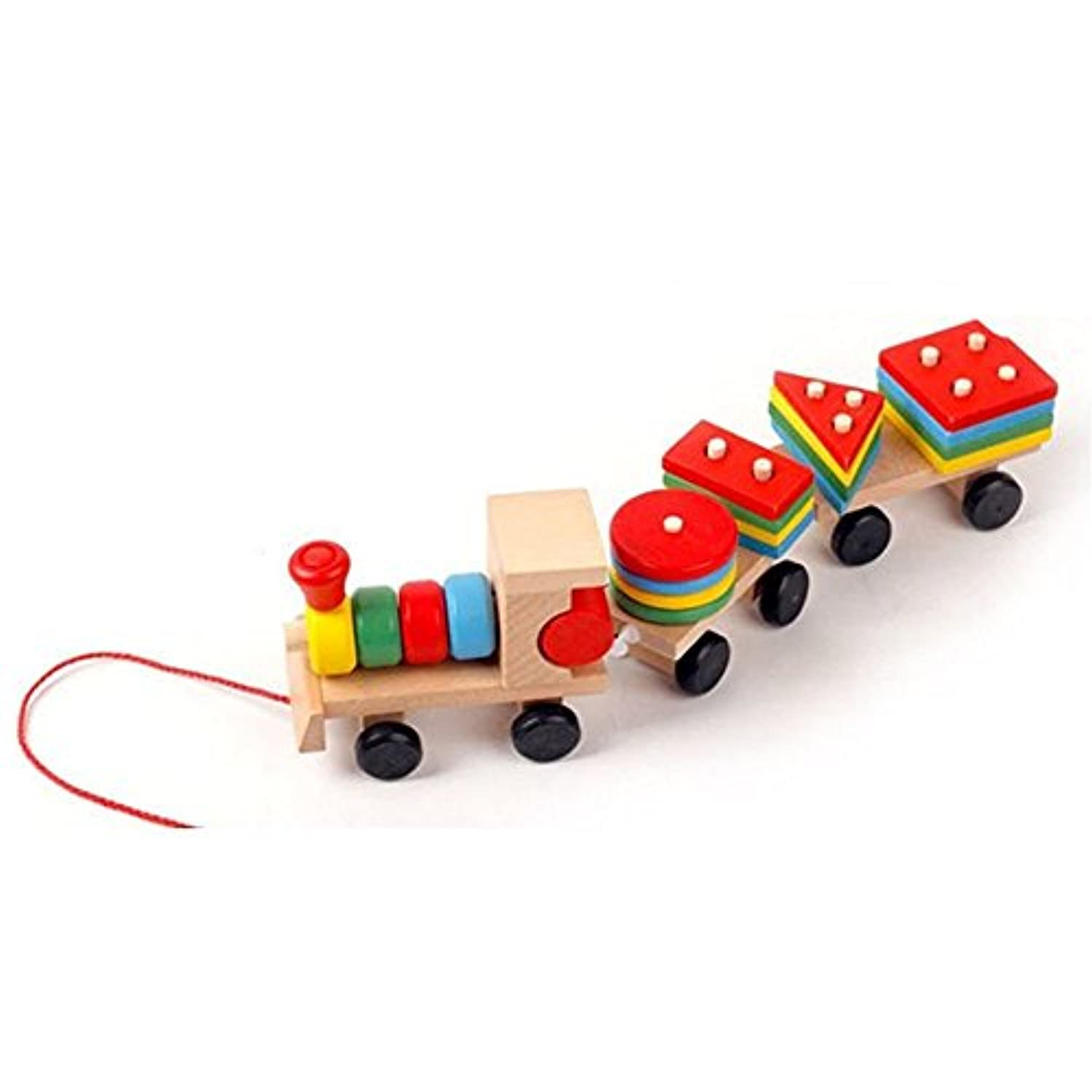 ipuzzle木製幾何Stacking Train Setに沿ってプルロープfor Kids Toddlers