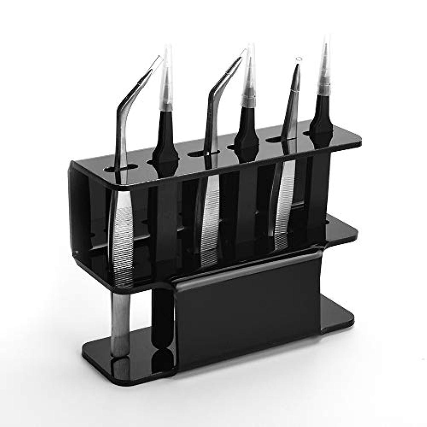 恥お別れ評判ATOMUS 6穴ピンセットスタンドホルダー収納ラックまつげ用アクリルディスプレイスタンド拡張用品アクセサリーツールピンセットシェルフの収集と配置 (黒)