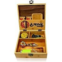 Prymal Products Wooden stash Box Bamboo Black Walnut with Tray and Lock, Bamboo Walnut Wood, Large