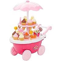 ノーブランド 品 2セット アイスクリーム&お菓子 カート 子供 ままごと おもちゃ ギフト