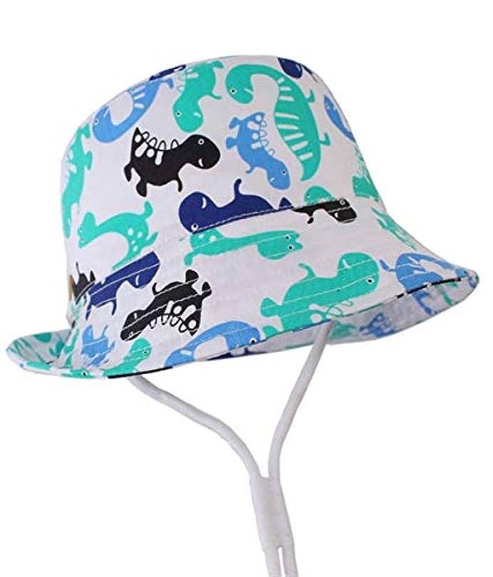 署名囚人オープナーVertily 子供 'S漫画恐竜サメプリントキャップ日帽子調整可能な漁師流域キャップ子供男の子男の子女の子漫画ビーチ調整可能なあごストラップ日焼け止めバケットハット