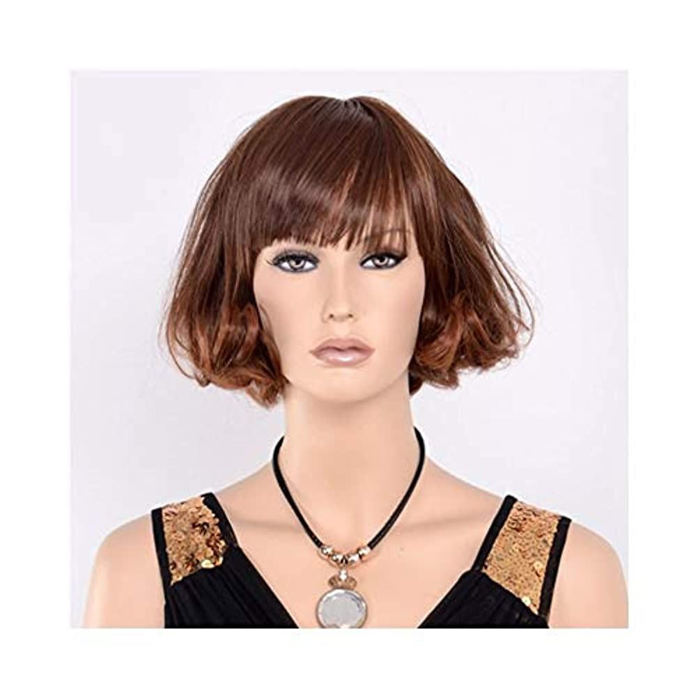 競うモンクアンティークYOUQIU 女性のブラウンボブウィッグ自然な耐熱合成ファッションかつらウィッグキャップウィッグ用ショートカーリーウィッグ (色 : ブラウン)