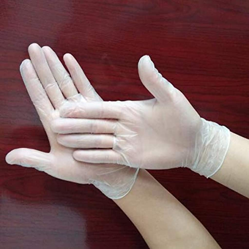 賛辞正統派摂氏ハッピー 使い捨てPVC手袋 ベルテプラテ 使い捨て手袋 PVCグローブ 粉なし パウダーフリー 左右兼用 (M)