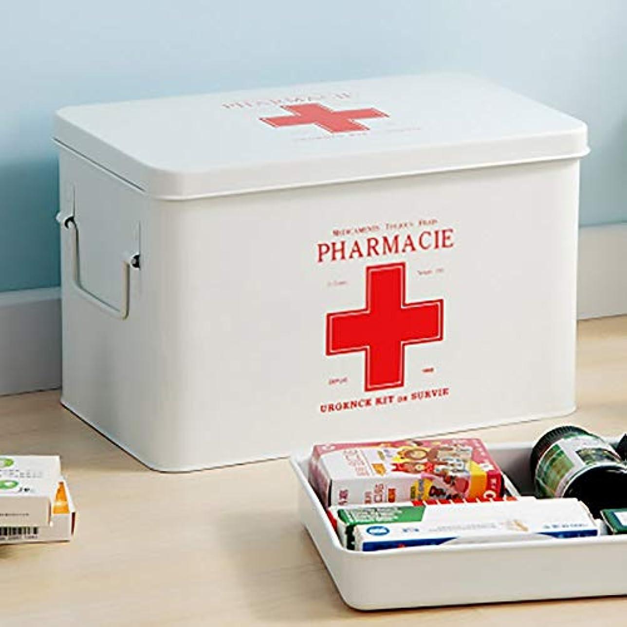 無限大自分の委任ZHILIAN& 薬箱二重層大容量家族多機能薬収納ボックス収納ボックス緊急キット31.5×19×20.3センチ (Color : White)