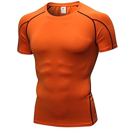 sillictor コンプレッション トップス メンズ 半袖 パワーストレッチ アンダー シャツ コンプレッション ウェア [UVカット + 吸汗速乾] yc1053オレンジ