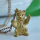 [Labyrinth]一生懸命威嚇するような小さな猫が個性派キュートなゴールドカラーロングネックレス