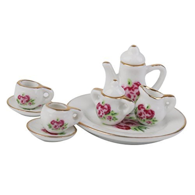 [ノーブランド品] 8つパターン人形House Miniature Porcelain Tea Setフラワー