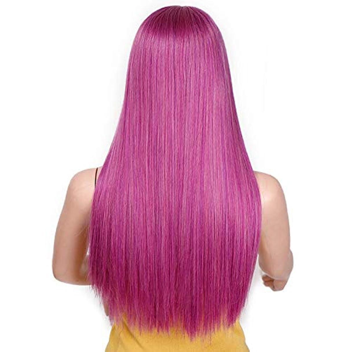 関税例示するフリンジ美しく 22「」女性のコスプレヘアウィッグ耐熱ブラックかつら私のかつらのためのロングストレート613のブロンド合成ウィッグ付き前髪 (Color : Purple, Stretched Length : 22inches)
