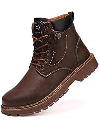 [メイオウ] メンズ ブーツ ワークシューズ カジュアルブーツ ハイカット革靴 レザーメンズ 靴 防滑 防水 裏起毛 防寒のスノーブーツ 雪靴 アウトドア 通勤用
