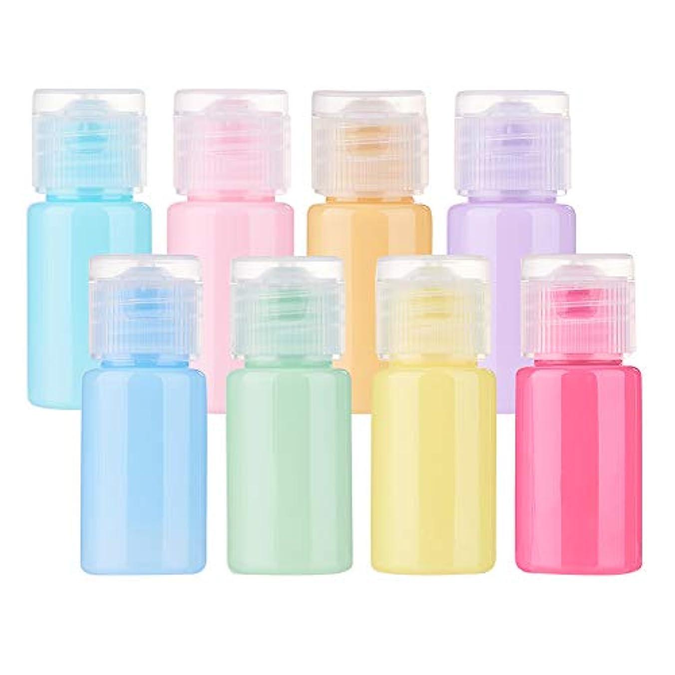 日焼け輝く揃えるBENECREAT 24個セット10mlマカロン色ボトル カラフルボトル プラスチック製 フリップキャップ クリーム 化粧品小分け 旅行 詰め替え容器
