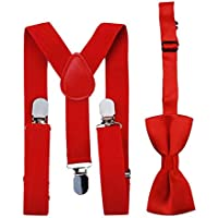 Adjustable and Elasticated with Metal Clips Polyester Kids Design Suspenders and Bowtie Bow Tie Set Matching Ties Outfits - Red